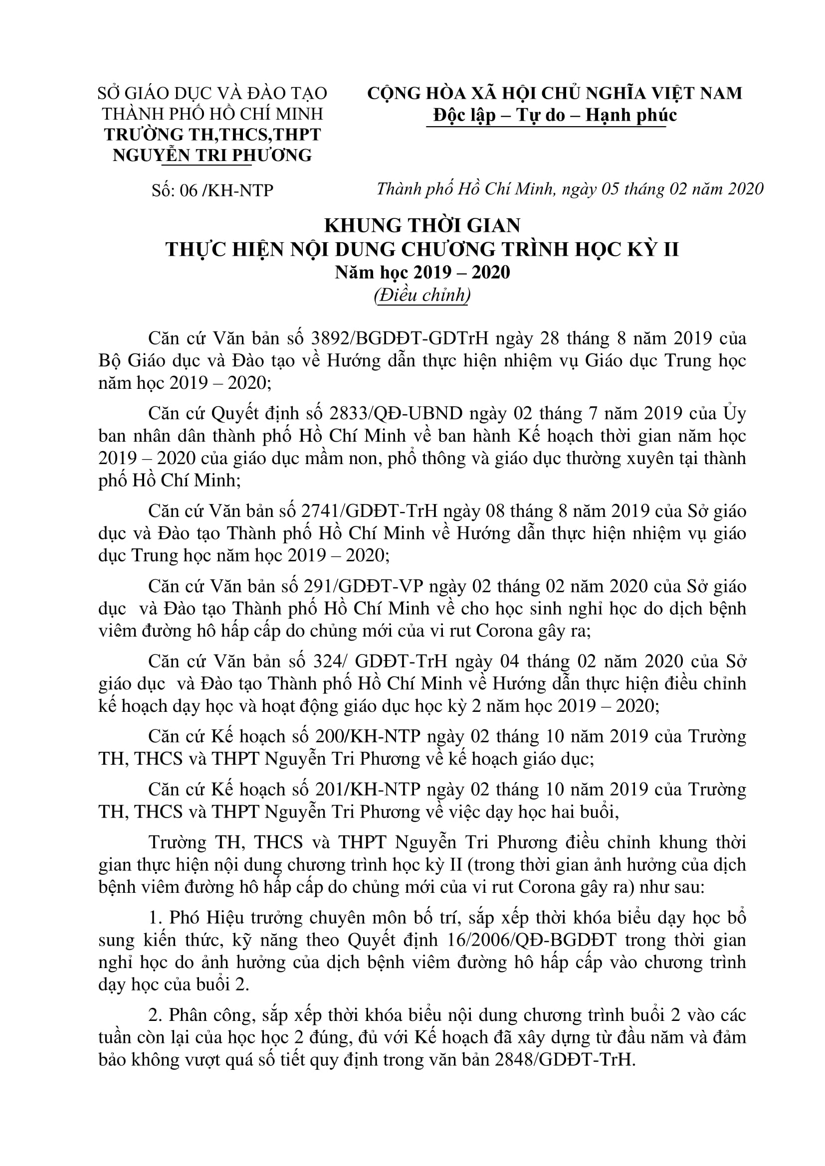 06 DIEU CHINH KHUNG THOI GIAN THUC HIEN CHUONG TRINH HKII 1
